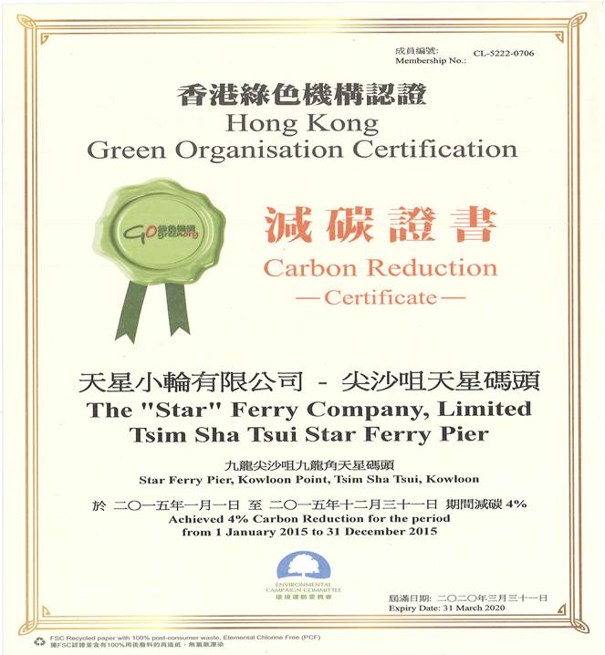 Hong Kong Green Organisation Certificate